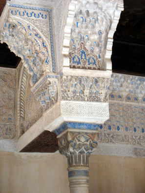 ALHAMBRA: Note the traces of original blue paint on the capital.