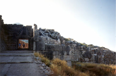 """MYCENAE: Distant view of the famous """"lion gate"""" entrance to the site."""