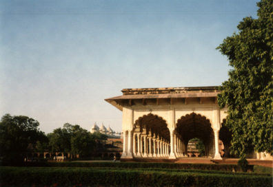 In this climate, a royal reception hall without walls makes sense. Built of white marble for Shah Jahan across the river from the Taj Mahal. 17th c.