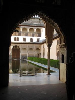 ALHAMBRA: View through arch of the Patio de los Arrayanes.