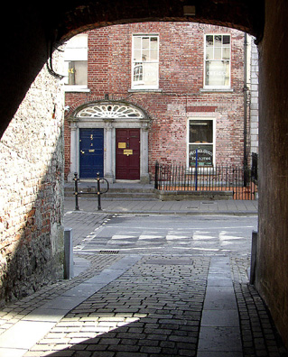 KILKENNY: View through an arch of a handsome Georgian house.
