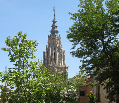 TOLEDO: View of the spire of the Toledo Cathedral from across town.