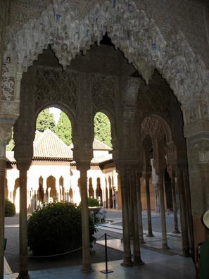 ALHAMBRA: View through arches of entrance to the Patio de los Leones.