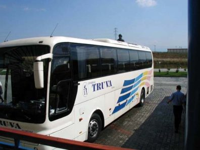 """After three days in Istanbul, we began our travels around the country by taking a bus to visit the site of ancient Troy. Coincidentally, we wound up using the Truva (""""Troy"""") bus line whose corporate symbol is the Trojan Horse."""