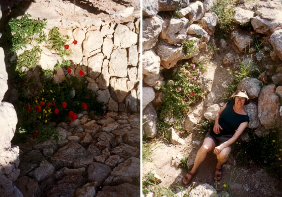 MYCENAE: Paula resting among the flowered rocks near the cistern entrance.