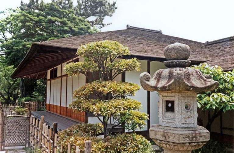 HIROSHIMA: This tea cottage is built using a different architectural style on each of its sides. May 19, 1998