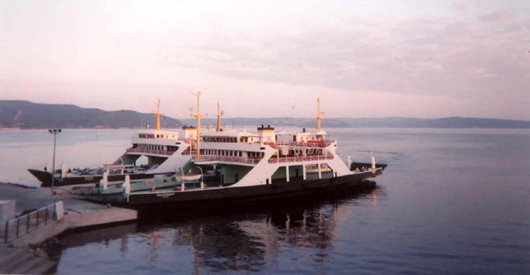 CANAKKALE: Our ferry looked pretty much like these docked just outside our hotel at sunset.
