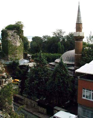 ISTANBUL: The view from the hotel roof included the ruins of the old hamam (Turkish bath) next door and the minaret of the neighborhood mosque. In the distance you can glimpse the waters of the Bosporus.
