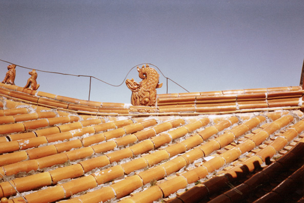 MT. EMEI: A traditional tiled roof, with lightning rods added.