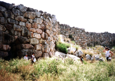 TIRYNS: The recently reopened site of ancient Tiryns was impressive, but the corridor polished by the many generations of sheep which were driven through it is now closed to the public.
