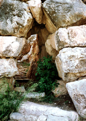 """TIRYNS: We descended the """"secret"""" stair which the inhabitants used during seiges to gain access to their fountain."""