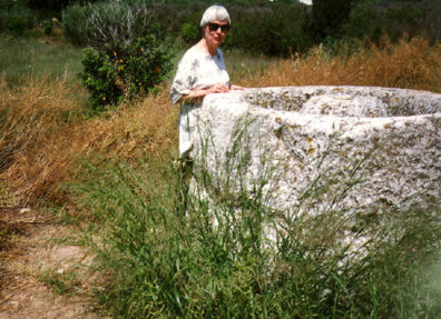 TIRYNS: Margarthe at the fountain. It actually had a little water in it.
