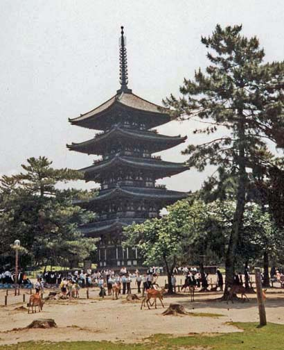 """NARA: Tame deer wander in front of this pagoda in the vast park at Nara. Vendors sell small seed """"cookies"""" to feed the deer. May 21, 1998"""