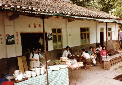 ROADSIDE RESTAURANT: Food on display at a streetside restaurant.