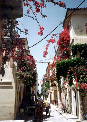 NAFPLION: Flowers exploding from the houses in Nafplion. The fine folk museum was near here.