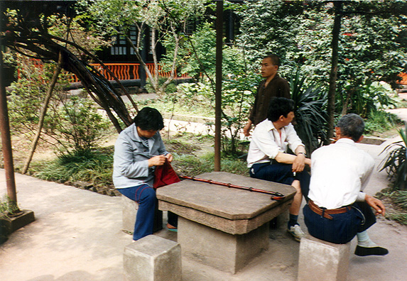 LESHAN: In Leshan, we strolled around the streets, seeing women knitting everywhere (and everywhere in China), using three bamboo needles.