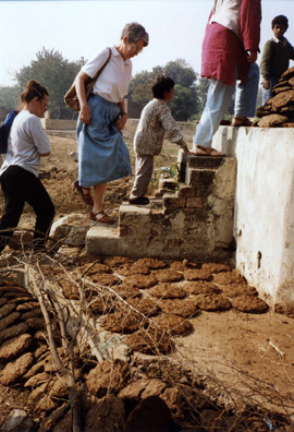 Margaret Andrews climbs the stairs to the local well in a village north of New Delhi. Hand-shaped dung patties are drying on the ground and stacked up on the platform ready to be used as fuel for cooking fires.