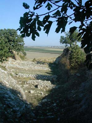 TROY: These are the foundations of ancient stone houses built in Troy I (3000-2500 BCE), with the battle plain in the background.