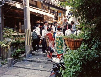 KYOTO: Performers from the Gion Corner theater in the traditional costumes of apprentice geishas (much more showy that the full geisha's regalia). These girls wandered around the Gion district posing with tourists and drumming up customers for the show. May 14, 1998.