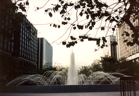 HONG KONG: Fountain in the plaza in front of our hotel.