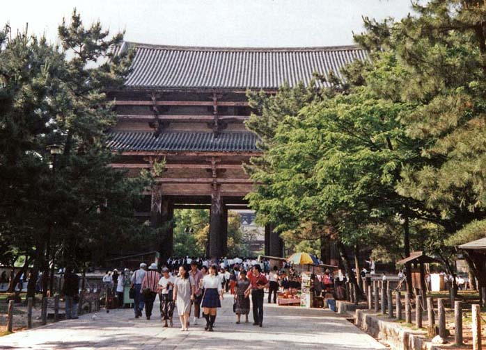 NARA: After lunch we explored the fabulous Nara National Museum, which emphasizes Buddhism, but no photography was allowed.We then moved on through the gateway to the famed Todai-ji Temple. May 21, 1998