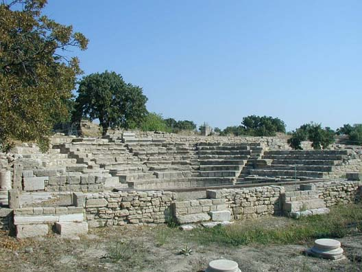 TROY: The most recent layer excavated so far is Troy IX (54 BCE-600 CE), built by the Romans. This is their Odeum, a small theater for musical performances.