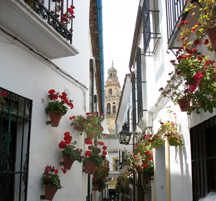 CORDOBA: A typical street in the old city with a distant view of the bell tower of the Mezquita.