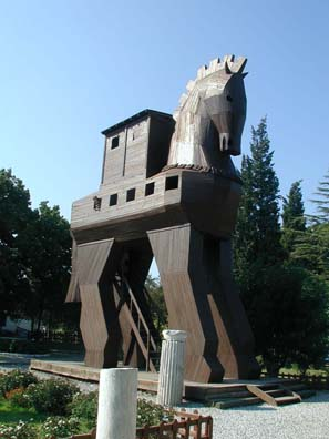 TROY: Tourists love posing in this hokey Trojan Horse at the entrance to the site, replica of a probably mythical artifact (that's Paula's head sticking out of the rearmost window).