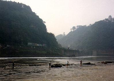 LESHAN: Fishermen in the river near Leshan.