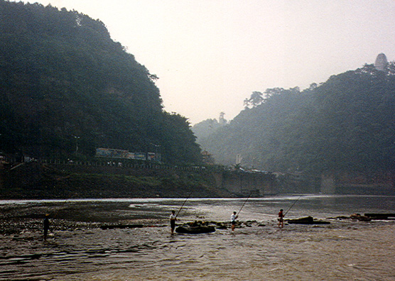 LESHAN: Fishermen in the river near Leshan.