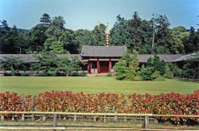 NARA: Walkways and auxiliary buildings beside the large square in front of the Daibutsu Temple. May 21, 1998
