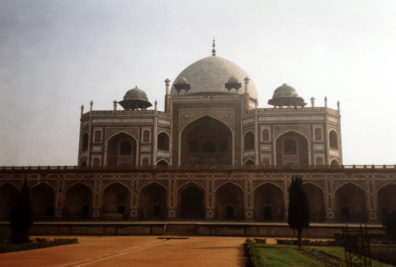 The beautiful tomb of Humayan, the second Mughal emperor and father of Akbar. His Persian widow hired Persian architect Mirak Mirza Ghiyuath to build it from 1562 to 1572; he brought the style of his native land to the task.