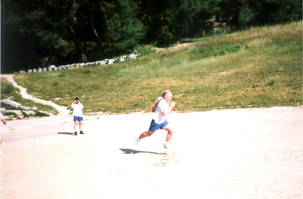OLYMPIA: We persuaded two of the students to stage a footrace for us. Merritt won handily.