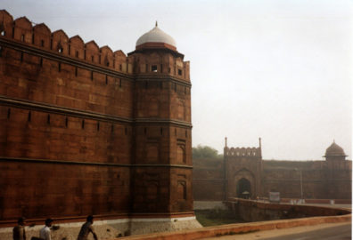 A small part of the vast Red Fort of Delhi, home to generations of Mogul Emperors, and for many of them marking the full extent of their empire. The last ones did not venture outside its walls.