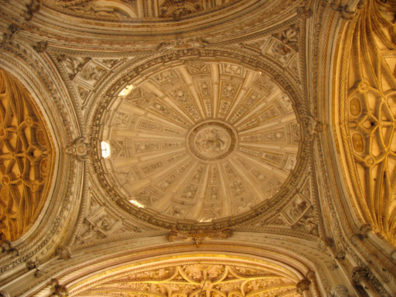 CORDOBA: Ornate dome inside the cathedral built inside La Mezquita. Constructed 1523.