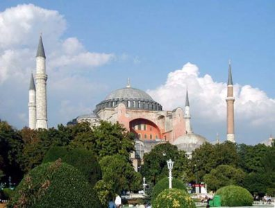 """HAGIA SOPHIA: We had walked around the historic heart of Sultanahmet on the evening we landed.On the morning of September 17, we set out to explore Hagia Sophia (""""Saint Sophia"""" or """"Holy Wisdom""""). [In Turkish it's called Ayasofya; Turkish spellings will be given in parentheses throughout this site.)"""
