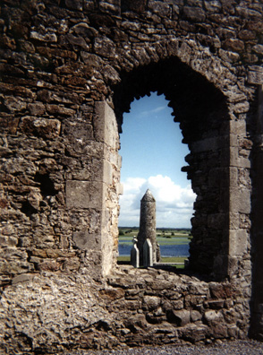 CLONMACNOISE: View through its window of the Tower Finghin.