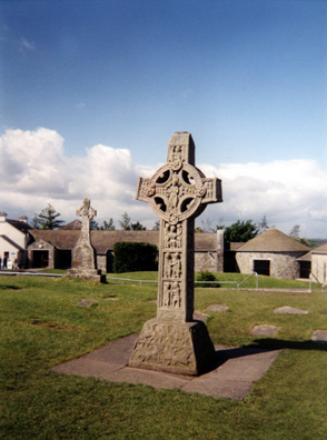 CLONMACNOISE: Clonmacnoise features a number of high crosses, the finest of which have been removed to the safety of the attached museum, with replicas installed outdoors. -REPLICA