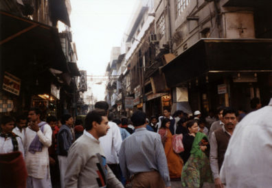 Typically crowded street scene in Old Delhi.