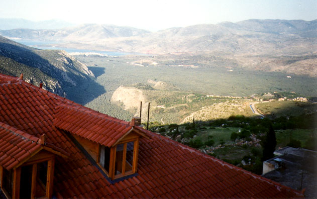 DELPHI: The view of the gulf from the balcony of our hotel in Delphi. Later we were serenaded throughout dinner by a pianist/vocalist running methodically through a collection of cheesy movie music.