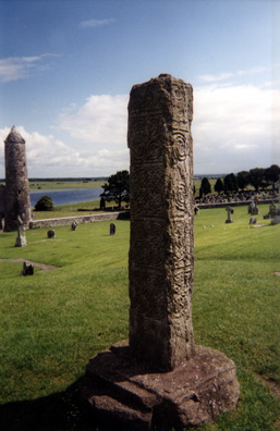 CLONMACNOISE: The North Cross, of which only the shaft remains, dating from c. 800.