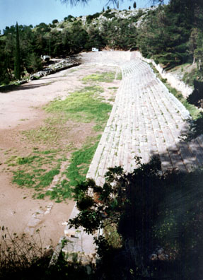 DELPHI: Early on May 26 we beat the crowds up Mount Parnassus to the stadium where races were run in ancient times.