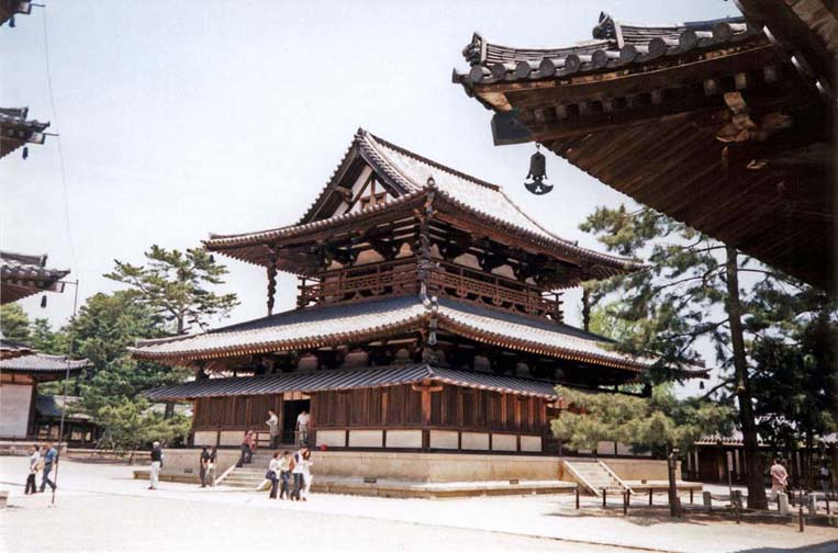 NARA: The Kondo Hall is the main building of the Sai-in Temple, the oldest part of the Horyuji Temple complex. First built in 7th C., rebuilt after fire destroyed the original in 711. May 21, 1998