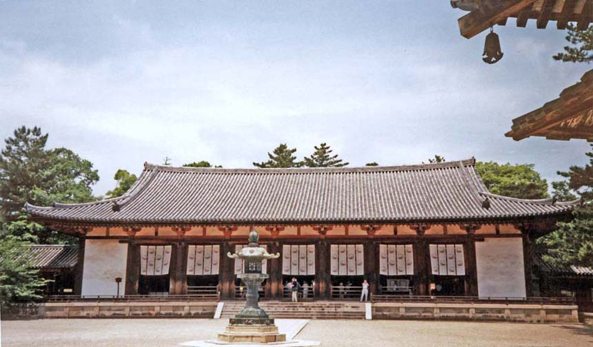 """NARA: The """"Great Lecture Hall,"""" part of the Horyuji Temple complex, built at the end of the 8th Century, rebuilt in 990. May 21, 1998"""