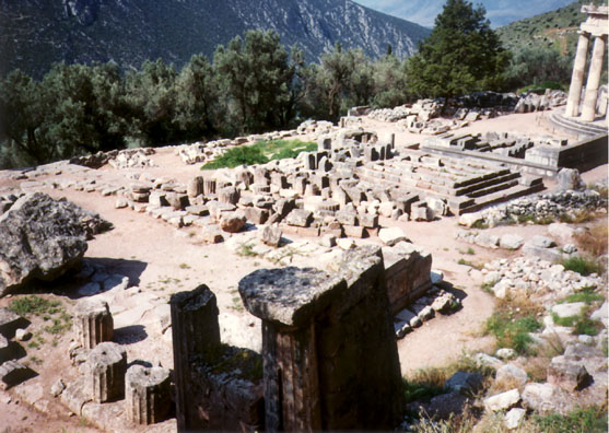 DELPHI: Across the road and down the hillside from the main site at Delphi lie the gymnasium and--beyond it--the Temenos of Athena Pronaia (c. 500 BC).