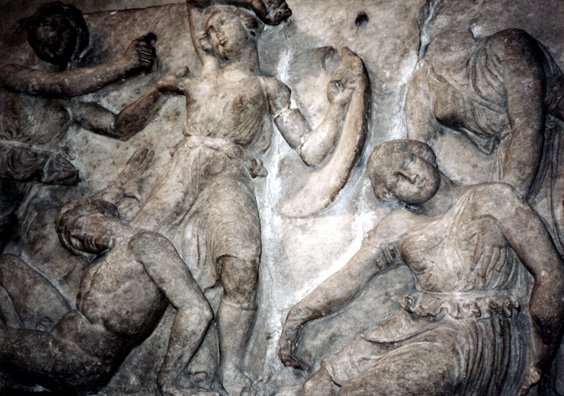 ELGIN MARBLES: It is remarkable that many classical temples are decorated with war scenes. The Athenians in particular were a combative bunch. Here the reliefs from Bassae depict a favorite theme: the triumph of the Greeks at Troy over the fierce Amazons. Greek men seem to have been terrified that if they let women run loose, they would run amuck.