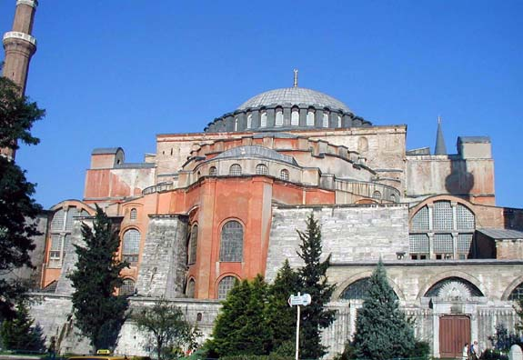 HAGIA SOPHIA: This famous domed church was built by designs by Anthemios of Tralles and Isidoros of Miletus at the orders of the famous Emperor Justinian (527-565 CE). It remained perhaps the most imposing church in Christendom until the Renaissance, and it contained the largest dome in the world during that period.