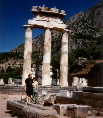 DELPHI: Paul and Paula in front of the Temenos.
