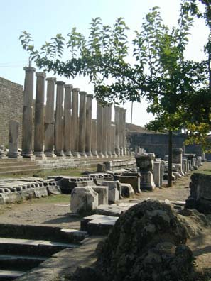 ASCLEPION: Columns outline the stoa which embraces the heart of the site.
