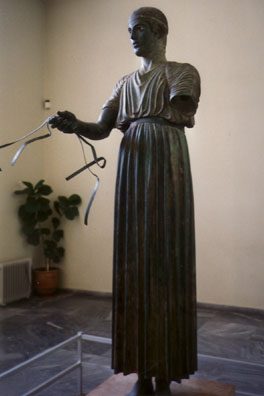 DELPHI: This famous bronze charioteer has inset eyes that gaze out at you unsettling like.
